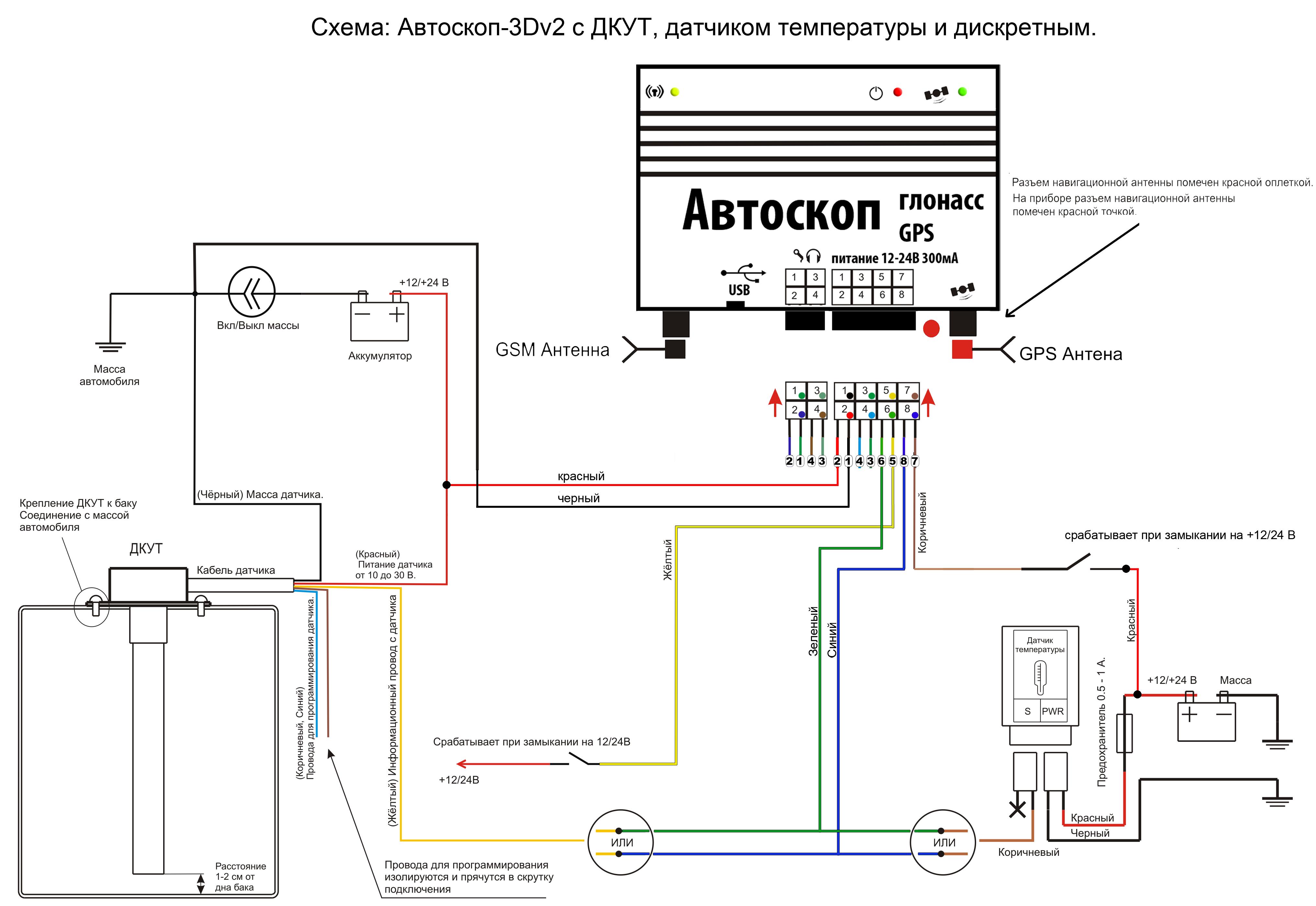 Схема подключения тепловых датчиков
